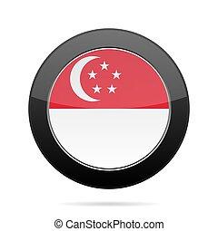 Flag of Singapore. Shiny black round button.