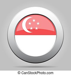 Flag of Singapore. Shiny metal gray round button.