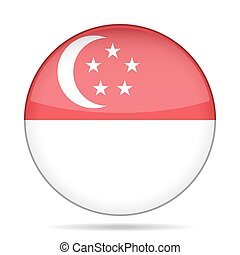 Flag of Singapore. Shiny round button.