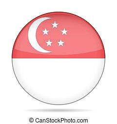 Flag of Singapore. Shiny round button.