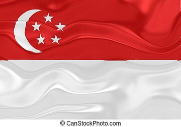 Flag of Singapore wavy