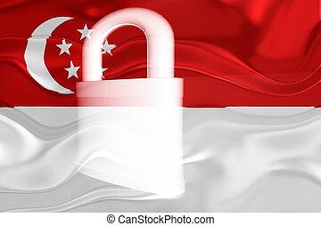 Flag of Singapore wavy security