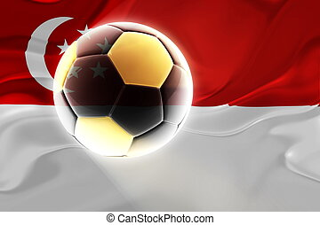 Flag of Singapore wavy soccer