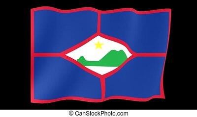 Flag of Sint Eustatius. Waving (PNG) computer animatie.