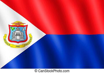 Flag of Sint Maarten waving in the wind