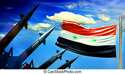Flag of Siria and Nuclear missiles on sky background