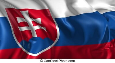 Beautiful 3d animation of Slovakia flag in loop mode