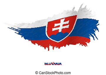 Flag of Slovakia in grunge style with waving effect.