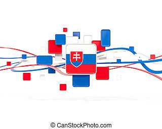 Flag of slovakia, mosaic background with lines