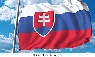 Flag of Slovakia on sky background. 3D rendering
