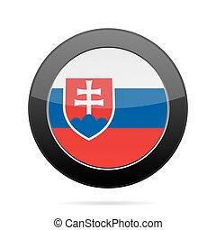 Flag of Slovakia. Shiny black round button.