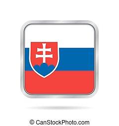 Flag of Slovakia. Shiny metallic square button.