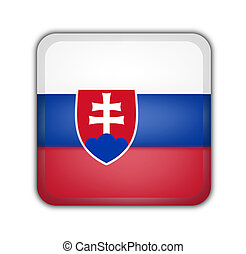 flag of slovakia, square button on white background
