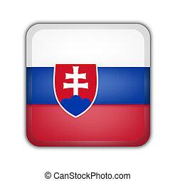 flag of slovakia, square button on white background