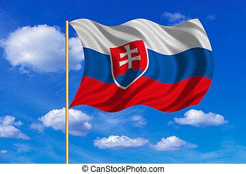 Flag of Slovakia waving on blue sky background