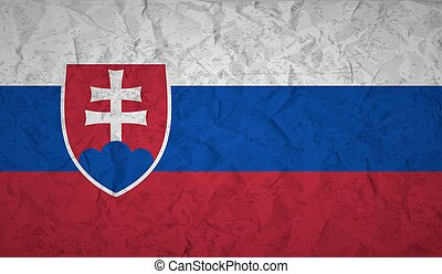 Flag of Slovakia with the effect of crumpled paper and grunge