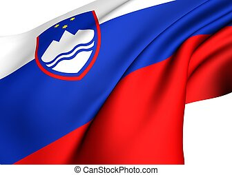 Flag of Slovenia against white background. Close up.