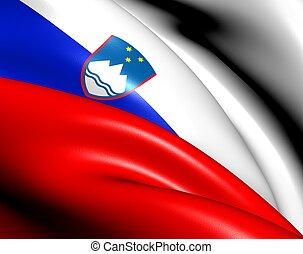 Flag of Slovenia. Close Up.