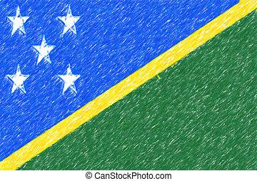 Flag of Solomon Islands background o texture, color pencil effect.