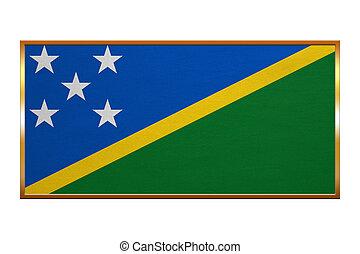 Flag of Solomon Islands, golden frame, textured
