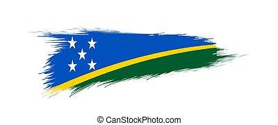 Flag of Solomon Islands in grunge brush stroke. - Flag of...