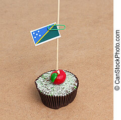 Flag of Solomon Islands on cupcake