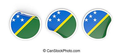 Flag of solomon islands, round labels