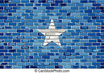 Flag of Somalia on a brick wall