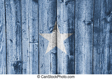 Flag of Somalia on weathered wood