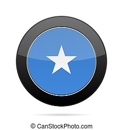 Flag of Somalia. Shiny black round button.