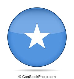 Flag of Somalia. Shiny round button.