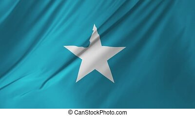 Flag of Somalia waving at wind 2 in 1