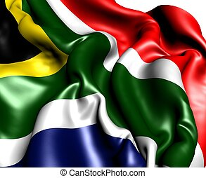 Flag of South Africa against white background. Close up.