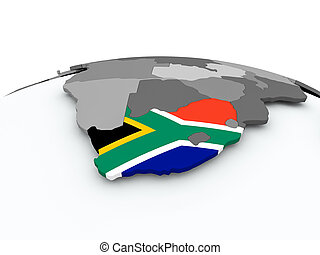 Flag of South Africa on globe