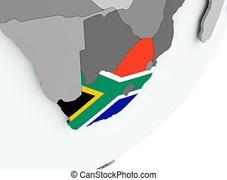 Flag of South Africa on map