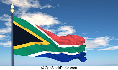 Flag Of South Africa on the background of the sky and flying clouds.