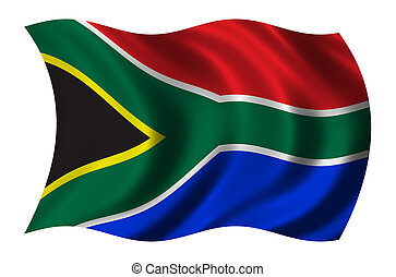 Flag of South Africa waving in the wind - clipping path included