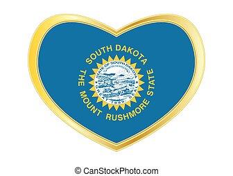 Flag of South Dakota in heart shape, golden frame - Flag of...