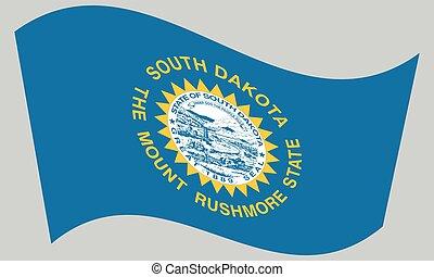 Flag of South Dakota waving on gray background - South...