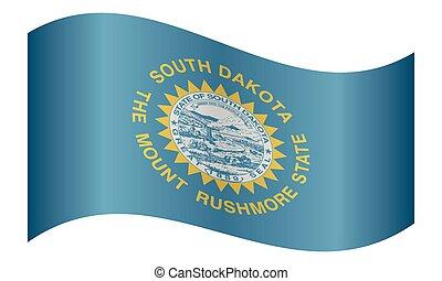 Flag of South Dakota waving on white background - South...