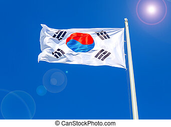 Flag of South Korea flying in the wind against the sky