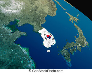 Flag of South Korea from space