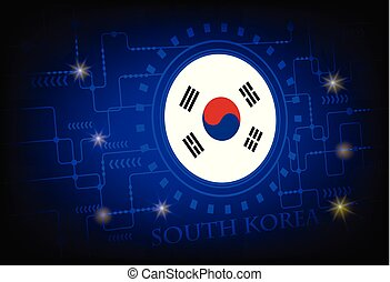 Flag of South Korea on a background of technology.