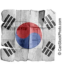 Flag of South Korea on the old paper.
