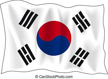 Waving flag of South Korea isolated on white