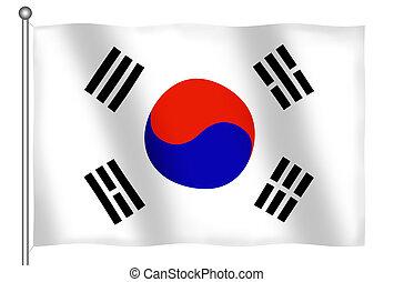 Flag of South Korea Waving