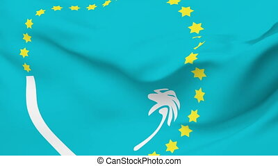 Flag of the South Pacific Commission waving in the wind. Seamless loop