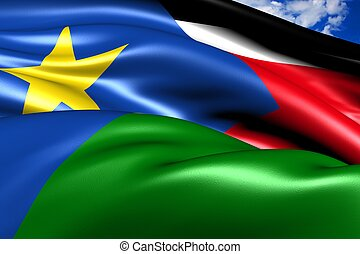 Flag of Southern Sudan. Close up.