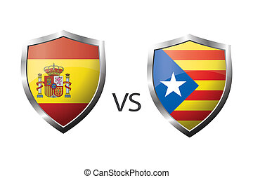 Flag of Spain and flag of Catalonia,concept design of...