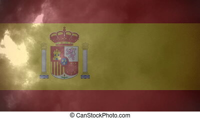 Flag of Spain and lightning
